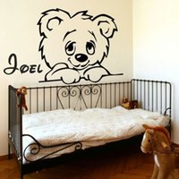 Wholesale Teddy Movie - Teddy Bear Wall Sticker Personalized Name Decal Removable Decoration Nursery Decor