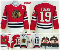 Wholesale Women S Shirts Cheap - Womens Blackhawks Jersey #19 Jonathan Toews Black Alternate Red Home Cheap 2016 Chicago Blackhawks Hockey Jersey White Shirt