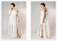 Wholesale Images For Chiffon Dresses - Exquisite Maternity Wedding Dresses One Shoulder Empire Waist Beach Chiffon Wedding Dress Plus Size Wedding Dresses For Pregnant Women Split