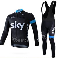 Wholesale Sky Winter Bib - Fleece Thermal for winter Black SKY cycling jersey mountain bike ropa ciclismo bicycle MTB bicicleta clothing 3D gel pad BIB