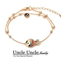 Wholesale Crystal Gold Clowns - Lovely!!! Rose Gold Color Multicolour Austrian Crystal The Clown Fish Style Lady Bracelet Anklet Wholesale