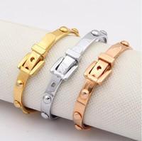 Wholesale vintage 14k bangle bracelet - Exquisite New Vintage Design Brand Rivet Stainless Steel Silver 18K Rose Gold Plated Bangles For Women Cuff Bracelets