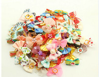 Wholesale Doggie Style - Mixture Styles Dog Accessories Pet Hair Bows Ribbon Dog Hair Bows Rubber Bands Doggie Boutique Grooming Pearls Handmade