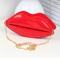 Wholesale Patterned Evening Clutch - Wholesale-Fashion Appearance 2016 Cross Body Women's Bags Evening Party Lip Pattern Clutches Purse Small Bag