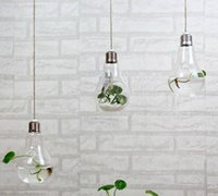 Wholesale Hanging Glass Christmas Ornaments - 2015 fashion light bulb shaped glass hanging bulb vases clear air planter terrarium hanging vases for Christmas Ornaments home decor