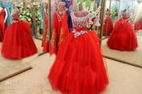 vestidos de desfile de manga roja al por mayor-Vestidos del desfile de la muchacha de la Navidad de lujo Cap Sleeve Major Beads Cristales Vestidos de fiesta para las muchachas Tulle Red Flower Girls Dress Imágenes reales