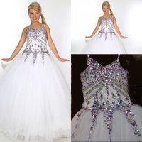 güzel fildişi çiçek kız elbiseleri toptan satış-Yeni Varış Çocuklar Düğün Çiçek Kız Elbise Güzel Boncuk Basamaklı Beyaz Fildişi Tül Ritzee Kızlar Pageant Balo