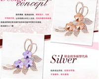 Wholesale Flowers Facets - 4 colors for option Women Brooch Flower bouquet Shape Facet Teardrop Faux Gem Mix Colors Free shipping