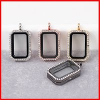 Wholesale Wholesale Floating Frames - Square floating locket DIY Jewelry transparent glass frames floating charm lockets pendants crystal floating charm locket 160703