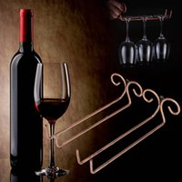 Wholesale Under Cabinet Wine Glasses Racks - Wine cup wine glass holder Hanging Drinking Glasses Stemware Rack Under Cabinet Storage Organizer Double Row for Household