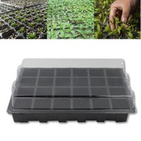 Wholesale Planter Box Gardening - 5Set 24 Holes Seedling Nursery Box Pots Tray With Lid Flower Plants Seedling Planter Garden Farmland Gardening Tools Supplies Black