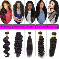 Wholesale Cheap Kinky Straight Human Hair - 8a Brazilian Virgin Body Wave Straight Human Hair Weave 5 Or 6 Bundles Cheap Peruvian Malaysian Water Deep Wave Kinky Curly Hair Extensions
