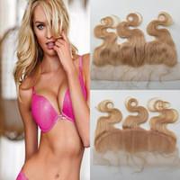 peru saç ürünleri vücut dalgası toptan satış-Yeni Ürün İsviçre dantel vücut dalga sarışın saç kapatma # 613 frontal 13 * 4 ipeksi yumuşak saç 8A perulu bakire saç ağartılmış Knot