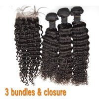 Wholesale bresilienne human hair for sale - Group buy G EASY human hair products brazilian remy deep wave human hair bundles with lace closure meches bresilienne avec closure