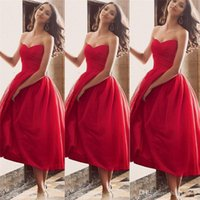 Wholesale Hot Girls Backless - 2015 Hot Sexy Red Satin A Line Prom Dresses Elegant Sweetheart Backless Pleats Short Party Ball Gowns Tea Length Girls' Homecoming Dresses