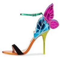 kadın kelebek askısı sandalet toptan satış-Melek kanatları kadın sandalet burnu açık toka ayak bileği kayışı kelebek kadın stiletto yüksek topuklu parti ayakkabı sandalet zapatos mujer