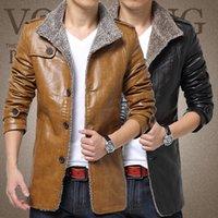 jaquetas moda masculina china venda por atacado-Atacado- T china barato atacado tamanho M-8XL 2017 outono inverno novos homens além de veludo moda casual tamanho grande PU jaqueta de couro outerwear