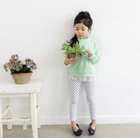 Wholesale T Paragraph Spring - Girls fall paragraph han edition panty dots cotton stretch feet of cultivate one's morality leisure pants leggings T-shirt BH1240