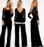 Wholesale Loose Fit Jumpsuit - 1510 Black Flared Pant Lace Sleeve Jumpsuit loose jumpsuit women long rompers womens formal jumpsuit fitted jumpsuit overalls women