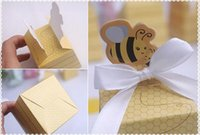 Wholesale Yellow Wedding Shower Favors - Wholesale 500PCS Yellow Honey Bee Wedding Baby Shower Birthday Party Favor Creative Graphics Gift Box Candy Boxes Favors