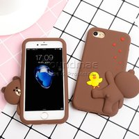 Wholesale Iphone Case Bag Silicon - Silicone cartoon Brown bear Phone Case Soft Silicon 3D Rubber Cute shockproof Case for iphone X 8 7 6 6s plus Opp Bag