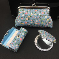 Wholesale Mirror Compact Silk - Elegant Silk Brocade 3 Sets of Lipstick Case, Compact Mirror and Cosmetic bags with Box Free shipping