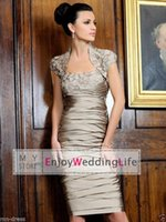 Wholesale Champagne Cocktail Dresses Sweetheart - Sexy New Satin Ruffles Sheath Mother Of The Bride Dresses Knee Length Lace Applique Beaded Cocktail Gowns