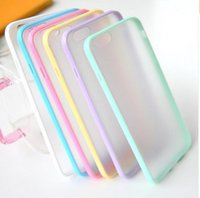 Wholesale Iphone Bumper Frosted Back - Hybrid TPU Bumper & Frosted Hard PC Case Double Candy Color Hard Plastic Clear Cover Case Colorful Clear Back Shell For Iphone Samsung