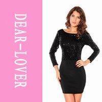 Wholesale Sequin Dress Women - Dress 2014 Women summer Black Sequin Cowl Mini Dress new fashion 2014 With Jersey LC2692 FG1511