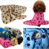Wholesale Dog Paw Fleece Blanket - Pet Blankets Paw Prints Blankets for pet cat and dog Soft Warm Fleece Blankets Mat Bed Cover 60*70cm Freeshipping D303