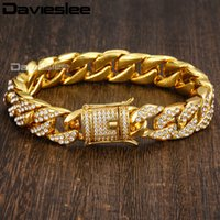 Hot Sale Miami Curb Cuban Link Mulheres Pulseira Mens Corrente Hip Hop Iced Out Amarelo Ouro FF GF 14mm DGB409