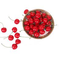 Wholesale photo simulation - 50pcs bag artificial Fruit Simulation Mini cherry Lucky fruit flower home table decoration Photo props