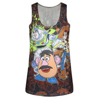 Women outlet express - FG Foreign trade stylish new selling D express sky spot print round neck vest outlet d print tank tops vest