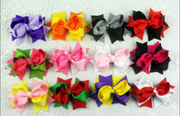 Wholesale Two Toned Baby Hair Bows - 15% off hot sale 3inch handmade girl toddler boutique two tone hair bowknot Grosgrain ribbon baby hair clips children hair accessories 50pcs