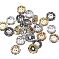 Wholesale Spike Gunmetal - 500 pcs Rhinestone Rondelle Spacer Beads in 10mm gunmetal silver gold KF gold 4 colors for option