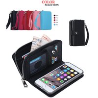 Wholesale Wholesale Clutch Frames - Luxury PU Flip Leather Cell Phone Wallet Cover Zipper Case Card Slot Photo Frame Holder Pouch Clutch for Iphone Samsung DHL FREE