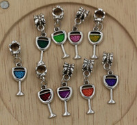 Wholesale Slide Enamel - Hot ! 9-color Enamel Wine Glass Goblet Drink Dangle Charm Bead fit European Bracelets 32 x 9mm (Z211)