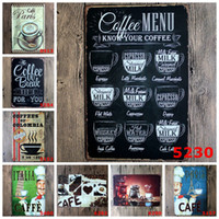 Wholesale Home Decoration Plaque - COFFEE MENU KNOW YOUR COFFEE 8*12inch Metal Tin Sign Coffee Pub Club Gallery Poster Vintage Plaque Wall Cafe Decor Plate
