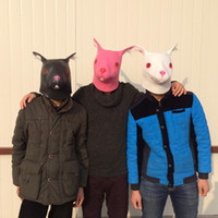 Wholesale Latex Rabbit Mask - Cosplay Rabbit Masks Carnival Animal Head Party Masks Latex Mask Halloween Costume Black White Pink color free shipping