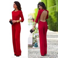 Wholesale Ladies Summer Overall - Wholesale-Summer Long Jumpsuits Sexy Red Maxi bodysuit Overalls Women Jumpsuits ladies Overall monos for women monos largos de mujer
