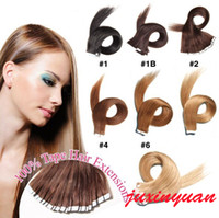 Wholesale Human Glue Skin - ELIBESS Tape Human Hair 14''-26'' 2.5g pc 40pcs Straight Double Drawn Brazilian Human Hair Extension Skin Weft With American Glue