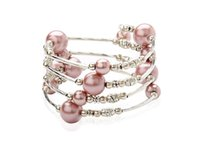 Wholesale Wired Pearl Strands - Wholesale-Carnival Jewelry, Wrap Bracelets, with Glass Pearl Beads, Tibetan Style Beads and Steel Bracelet Memory Wire, RosyBrown, 55mm