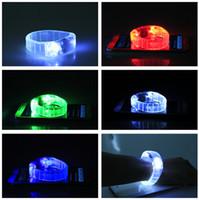 Wholesale Glowing Bands - LED Voice-control Bracelet Glo-sticks Electronic LED Flashing Bracelet Glow Bracelets LED Wrist Band Christmas LED Bracelet LED Lighted Toys