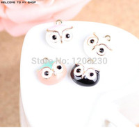 Wholesale Horn Shaped Pendants - loating locket charms 2015 Newest Trendy animals shape alloy drop oil gold-color metal big eye cute owl head floating locket charms jewel...