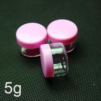 Wholesale Pink Plastic Cosmetic Jars Wholesale - plastic cosmetic container, Pink cream jar, sample jar 5g ,Cyan screw cap