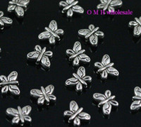 Wholesale Tibetan Butterfly Spacer - Wholesale-OMH wholesale Free ship 20pcs tibetan silver butterfly spacer beads Jewelry metal beads 10X8X4MM ZL172
