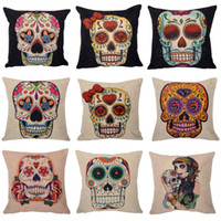 Wholesale Knitted Seat Cushion - 5pcs Hot Sell Vintage Punk Skull Cotton Linen Throw Case Sofa Cushion Pillow Cover Home Decor Nap pillow Cover seat Free Ship