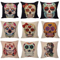5pcs Sell Vintage Hot Punk Skull Cotton Linen Throw Case Canapé Coussin Coussin Home Decor Nap oreiller Couverture siège Free Ship