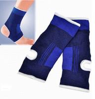 soporte de tobillo azul al por mayor-10pc 5Pair Unisex Ankle Pad Protección Blue Sports Gym Elastic Brace Guard Support