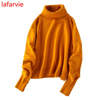 Wholesale Turtleneck Cashmere Jumpers - Wholesale- Lafarvie Hot Sale Fashion Cashmere Blended Sweater Women Pullovers Turtleneck Full Sleeve Solid Autumn&Winter Pull Jumper Female